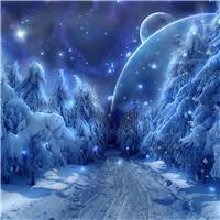 冬天夜晚雪漫画图片