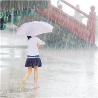 一个人撑伞在雨中淋雨