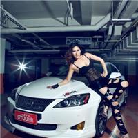 雷克萨斯美女车模 女模穿白裤