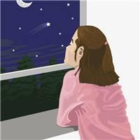 夜晚一个人站在窗前的孤单背影