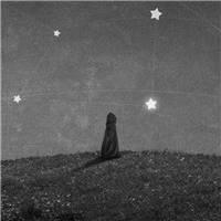 孤独 星空 黑灰 卡通壁纸