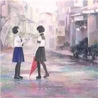 一个人雨中打伞孤单背影伤感