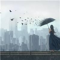 一个人雨中打伞孤单背影伤感图片