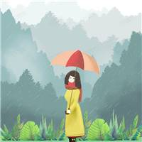 雨中漫步的女孩撑伞