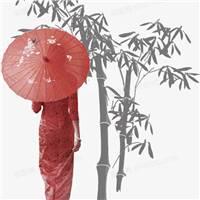 古典风古代美女打伞背影竹子