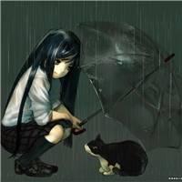 动漫头像 撑伞在雨中的背影