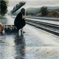 雨中美女打伞图