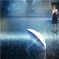 女孩雨中打伞伤感图片
