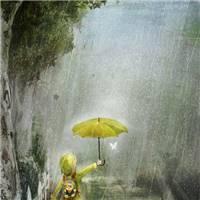雨中打伞的小孩子绘画