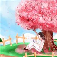 手绘唯美樱花树下看书女孩插画#二次元#女生#手绘