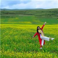 有象征温暖光明快乐和希望的黄色#女人#花草#风景