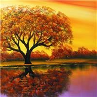 油画秋天风景希望之树#唯美#风景#树木